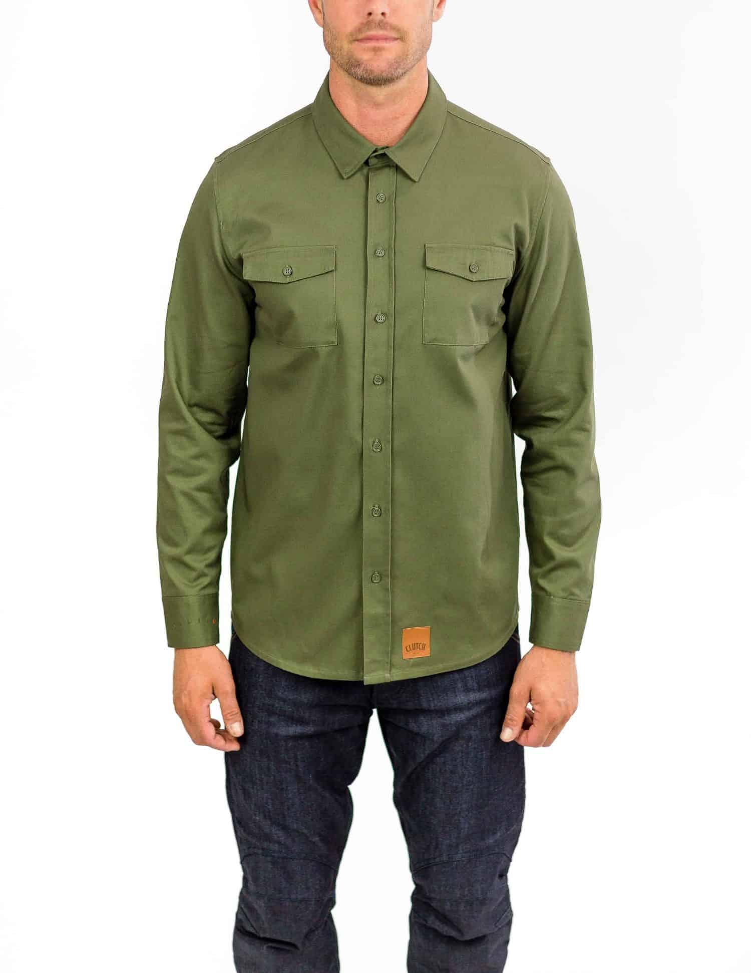 Recon Military Green – Long Sleeve Riding Shirt